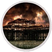 Storm Over The West Pier Round Beach Towel