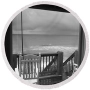 Storm-rocked Beach Chairs Round Beach Towel