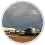 Storm Sky Over The Old Railyard Round Beach Towel