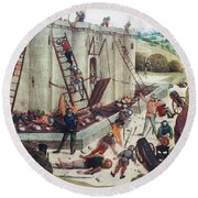 Storming Of Castle Round Beach Towel