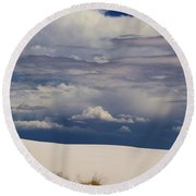 Storm's Contrast With White Sand Round Beach Towel