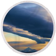 Storms Over Shasta Round Beach Towel
