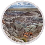 Stormy Morning At Petrified Forest  Round Beach Towel