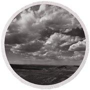 Stormy Wyoming Sky Round Beach Towel