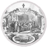 Story Of A Pauper, 1868 Round Beach Towel