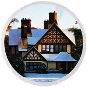 Storybook House Round Beach Towel