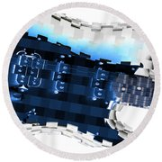 Abstract Guitar In Blue Round Beach Towel