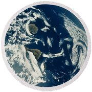 Stratus Cloud Formations Over Canary Round Beach Towel by Nasa