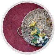 Straw Basket With Flowers Round Beach Towel
