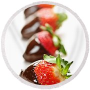 Strawberries Dipped In Chocolate Round Beach Towel