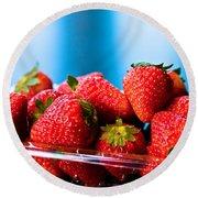 Strawberries In A Plastic Sale Box  Round Beach Towel
