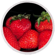 Strawberries Round Beach Towel by Paul Ward