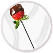 Strawberry Dipped In Chocolate Round Beach Towel