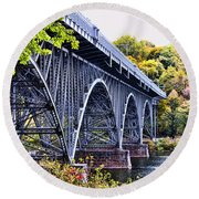 Strawberry Mansion Bridge Fall View Round Beach Towel