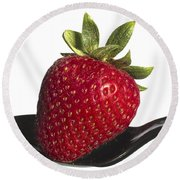 Strawberry On A Black Spoon Against White No.0003 Round Beach Towel