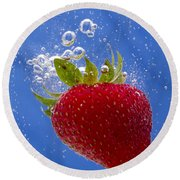 Strawberry Soda Dunk 3 Round Beach Towel