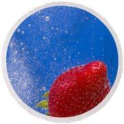 Strawberry Soda Dunk 4 Round Beach Towel