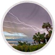 Streak Lightning Round Beach Towel