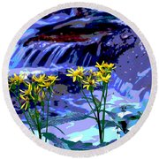 Stream And Flowers Round Beach Towel