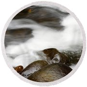 Stream Flowing Over Rocks Round Beach Towel