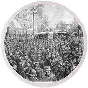 Street Car Strike, 1886 Round Beach Towel