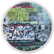 Street Graffiti - Tubs Let Loose Round Beach Towel