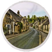 Street In Castle Combe Round Beach Towel