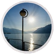 Street Lamp And Water Round Beach Towel