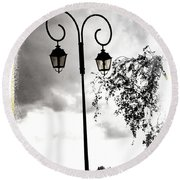 Street Lamps Round Beach Towel