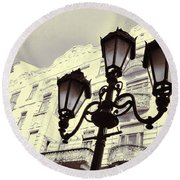 Street Lamps Of Budapest Hungary Round Beach Towel