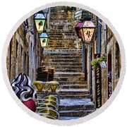 Street Lane In Dubrovnik Croatia Round Beach Towel