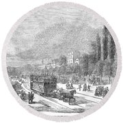 Street Railway, 1853 Round Beach Towel