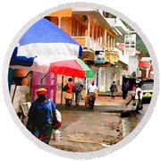 Street Scene In Rosea Dominica Filtered Round Beach Towel