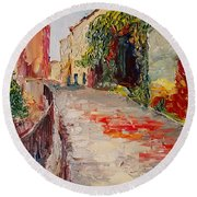 Streets Of Old Cannes Round Beach Towel
