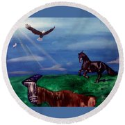Strenght And Flight Round Beach Towel