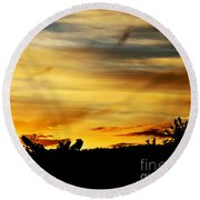 Stripey Sunset Silhouette Round Beach Towel