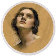 Study Of A Head Round Beach Towel by Evelyn De Morgan