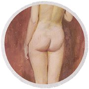 Study Of A Nude Round Beach Towel by Murray Bladon