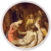 Study Of The Lamentation On The Dead Christ Round Beach Towel