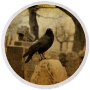 Study Of The Surly Raven Round Beach Towel