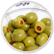Stuffed Green Olives Round Beach Towel