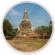 Stupa Chedi Of A Wat In Thailand Round Beach Towel
