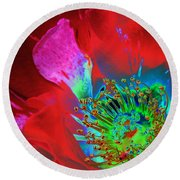 Stylized Flower Center Round Beach Towel