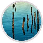 Submerged Trees At Sunset Round Beach Towel