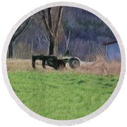 Subsoiler On The Farm  Round Beach Towel