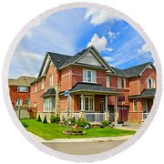 Suburban Homes Round Beach Towel
