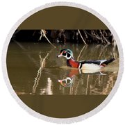 Sucarnoochee River - Suspicious Wood Duck Round Beach Towel