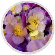 Sugared Pansies Round Beach Towel