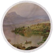 Sugarloaf From Wickham Lake Round Beach Towel by Jasper Francis Cropsey