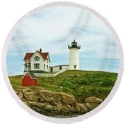 Summer Afternoon At Nubble Light Round Beach Towel